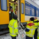 ProRail incident team helps passengers from a stranded train in the Netherlands during a snowstorm. Photo: ProRail