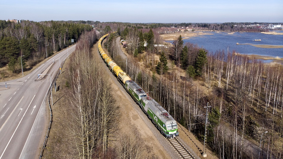 VR Transport freight train in Finland