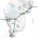 One of the 4 main line proposals, map : Trafikverket