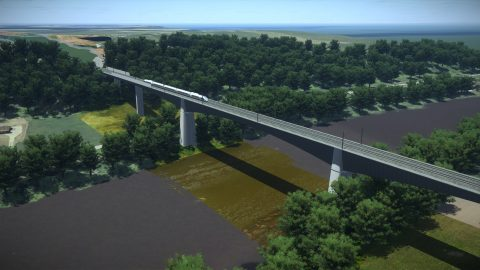 Concept of the longest railway bridge of Rail Baltica across the river Neris