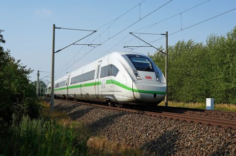 "DB long-distance traffic with ICE 4 class 412 in ""That's green"" design on the road at Rackwitz"