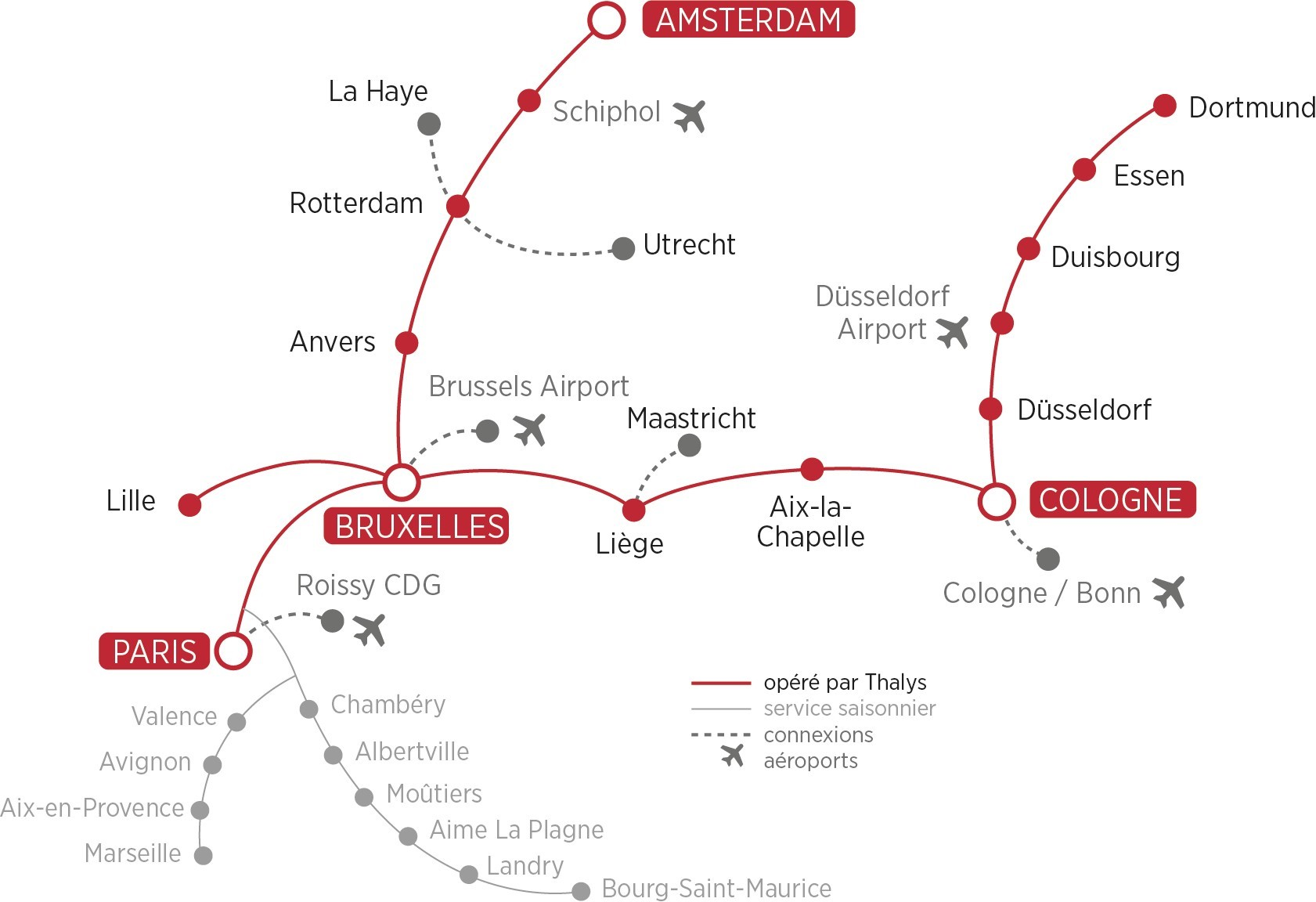 Current map of the Thalys network