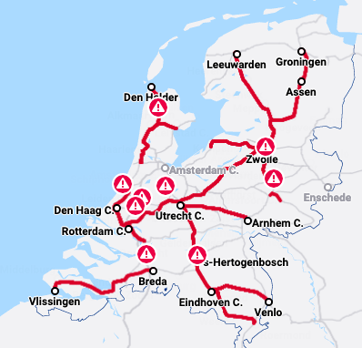 Almost all train traffic in the Netherlands was disrupted due to the system failure