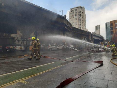 Fire at London's Elephant and Castle station, image: London Fire Brigade