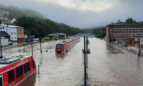 Flooded railway in Germany, DB Regio